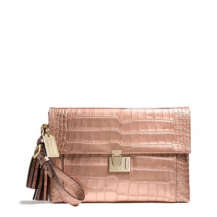 Coach  LEGACY LOCK CLUTCH IN LIQUID METALLIC CROC  $398