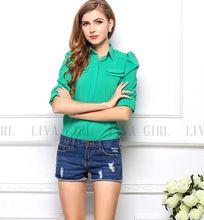 2014 primavera e verão das mulheres tamanho grande chiffon camisa blusa pequeno encolher de ombros de manga Puff chiffon blusa Slim(China (Mainland))