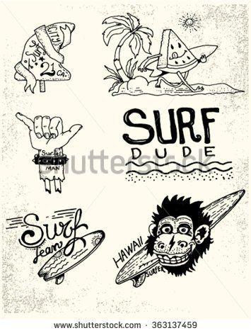 Set of vintage surfing and skateboarding. Labels, badges and design elements.