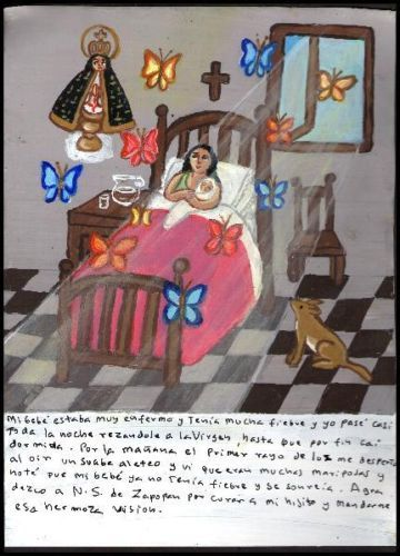 Mexican Exvoto Retablo EX Voto Miracle and Butterflies | eBay