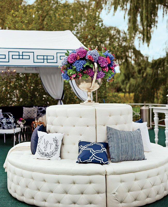Mod White Lounge Furniture and Moonogrammed Pillows for the Reception | Liz Banfield | blog.theknot.com