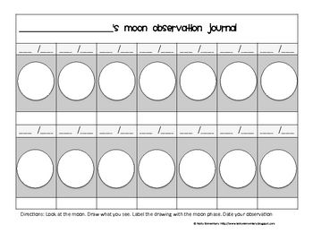 This is a way of giving some structure for your students to observe the moon phases and document what they see. Students are given a circle as well...