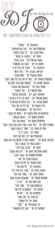 sample wedding ceremony music playlist
