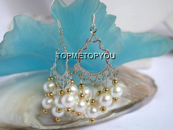 Charming Natural White Pearls Dangle Earrings 925ss Hook E934 | eBay
