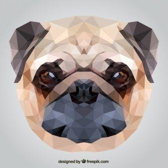 Polygonal pug dog