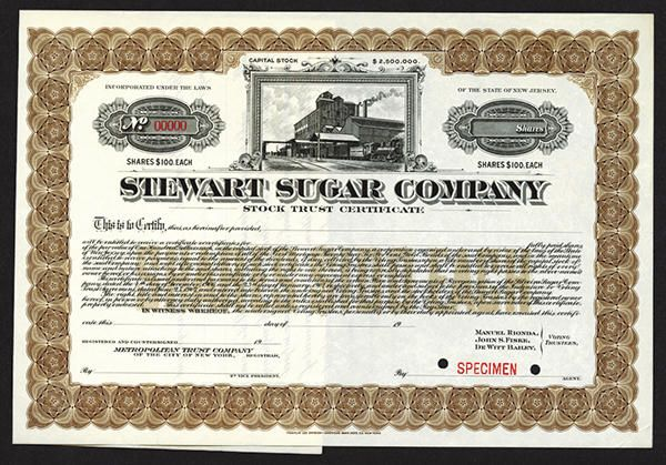 NumisBids: Archives International Auctions Auction 24, Lot 773 : Stewart Sugar Co., 1906 Specimen Stock Certificate. New Jersey, (Cuba...
