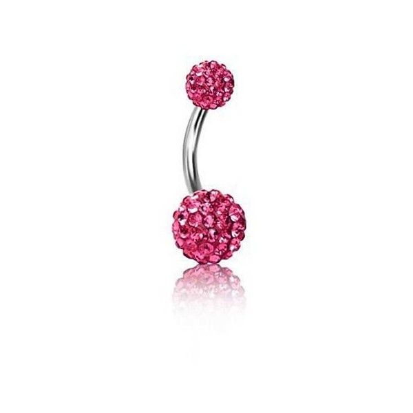 Bling Jewelry Shamballa Inspired 316L Steel Navel Belly Ring Pink... ($9.99) ❤ liked on Polyvore featuring jewelry, belly bars, pink, belly rings jewelry, body jewellery, crystal stone jewelry, pink crystal jewelry and crystal jewellery