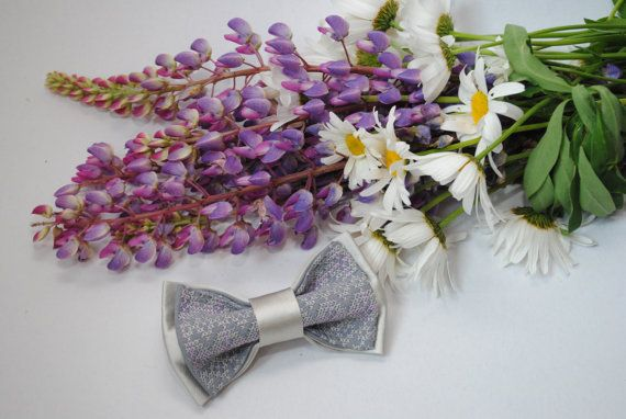 Embroidered bowtie Gray satin pretied bow tie by accessories482