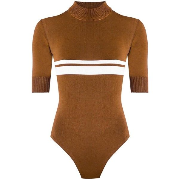 Haight knit swimsuit ($246) ❤ liked on Polyvore featuring swimwear, one-piece swimsuits, brown, knit swimsuit, brown bathing suit, swim suits, swimming costume and brown one piece swimsuit