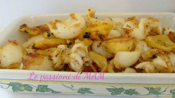Seppie e patate al forno un secondo piatto di pesce molto gustoso e veloce da preparare con una gratinatura molto saporita