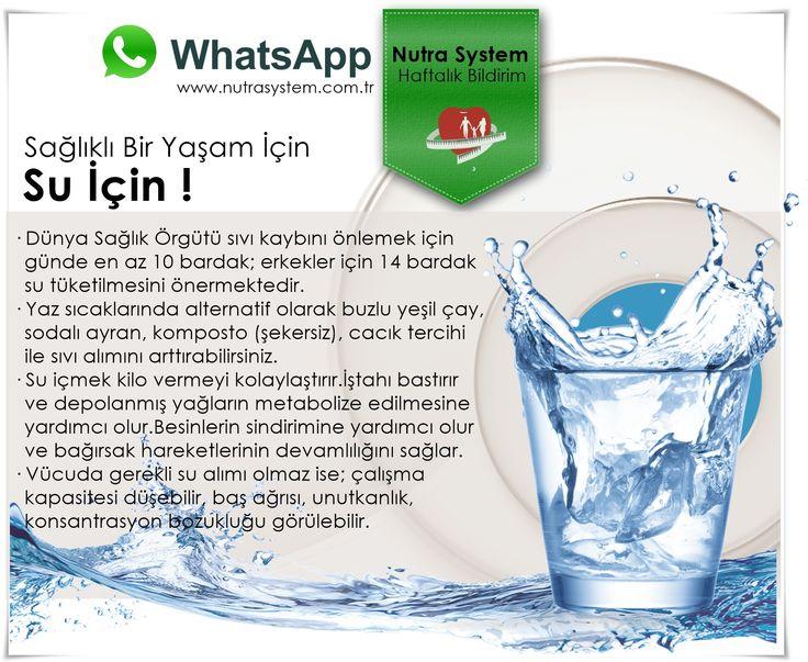 HER PAZARTESİ... Haftalık WhatsApp Bildirimlerimizle Sizlerleyiz. WhatsApp üyeliği İçin info@nutrasystem.com.tr adresine Ad Soyad ve e-mail bilgilerinizi gönderebilir...Uzmanlarımızdan güncel bilgilere ulaşabilirsiniz.  HABER DETAY İÇERİĞİ Sağlıklı Bir Yaşam İçin… SU İÇİN ! http://www.nutrasystem.com.tr/saglikli-bir-yasam-icin-su-icin/