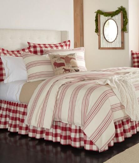 Our woven ticking stripe combines charm and sophistication for effortless wardrobing with florals and checks. (Country Curtains Normandie Ticking Stripe Duvet Cover. Available in French Red and Indigo.)