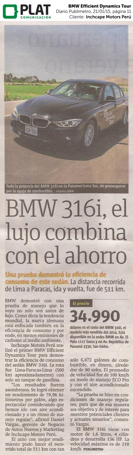 Inchcape Motors: BMW Efficient Dynamics Tour en el diario Publimetro de Perú (21/01/15)