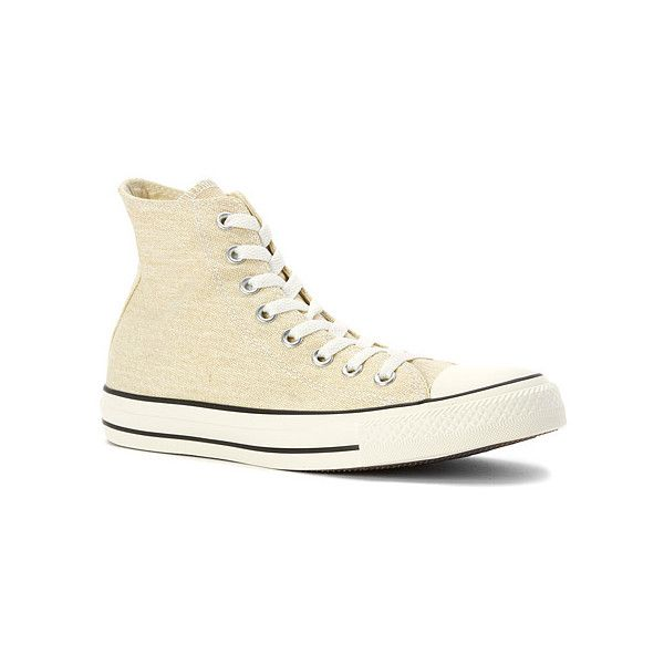 Converse Chuck Taylor Washed High Top Sneaker (56 CAD) ❤ liked on Polyvore featuring shoes, sneakers, athletic-inspired, natural wash, women's, high top shoes, converse high tops, converse footwear, converse trainers and hi tops