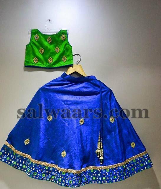 Blue Light Green Silk Lehenga - Indian Dresses