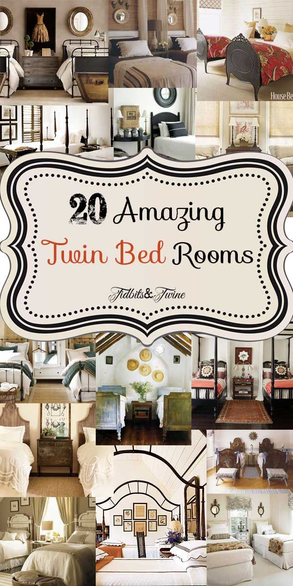 Tidbits & Twine: 20 gorgeous guest bedrooms featuring twin beds.  Full article at: http://tidbitsandtwine.com/guest-bedroom-inspiration-20-amazing-twin-bed-rooms/