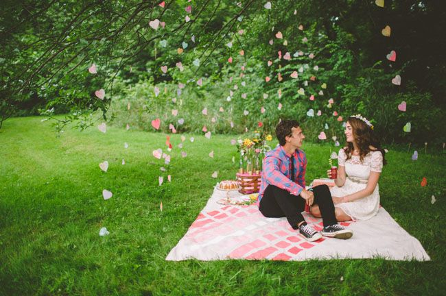 This shoot has so many great DIY's to inspire...especially the flurry of paper hearts strung from the trees