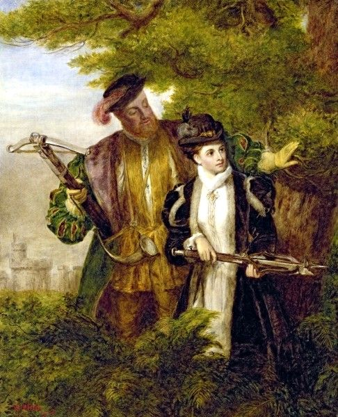 An early 20th-century painting of Anne Boleyn, depicting her deer hunting with the King Henry