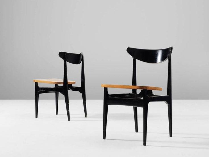 Set of 12 Black Wooden Dining Chairs  4