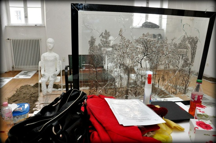 Nemeth Hajnal Aurora: Viewpoint from my big lass painting/ Az üvegen is túl...POMPEI 2.0 Hogyan készült/How was it made...