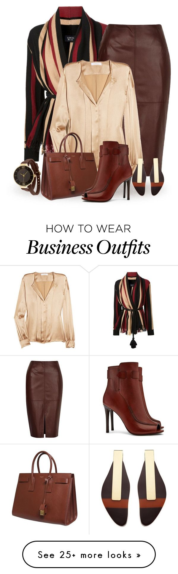 """Fall Office"" by terry-tlc on Polyvore featuring Lanvin, River Island, Chloé, Yves Saint Laurent, Tory Burch, Marni and TKO Orlogi"
