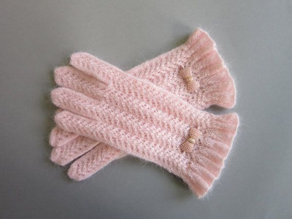 Knit Gloves Soft Pink Lace Gloves Blush Gloves Hand Knit Gloves Womens Gloves…