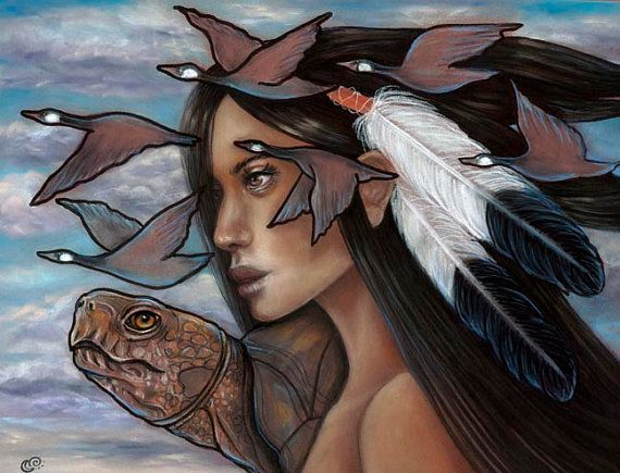 Sky Woman Iroquois Native American Mythology Pagan Turtle 8x10 fine art print on Etsy, $16.00