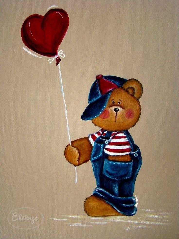 Ours avec ballon coeur. Acrylique