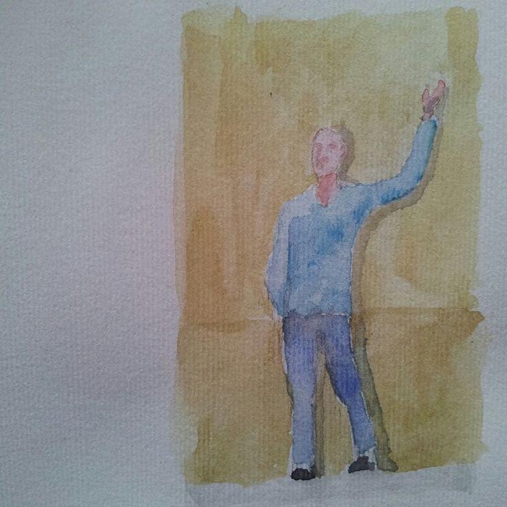 Lui che saluta. He greets.  #Personaggetti #fruso #artworks #watercolor #watercolour #acquerello #watercolours #mywatercolors #mywatercolor #acquerelli