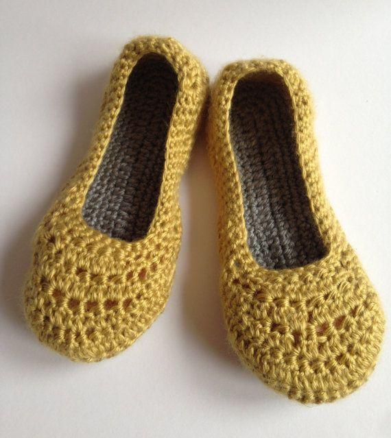 Womens crochet slippers. Mustard and grey slippers. House shoes