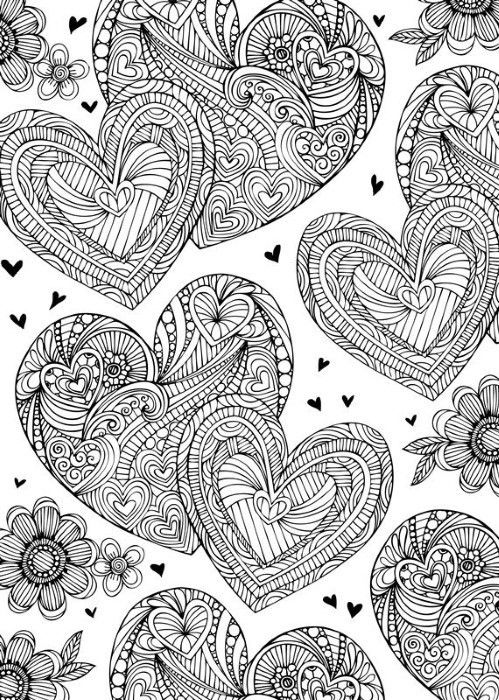 17 Best images about Hearts Love Coloring Pages for Adults on Pinterest Coloring Coloring