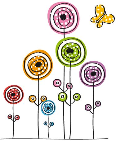 Vinilo infantil flores abstractas y mariposa