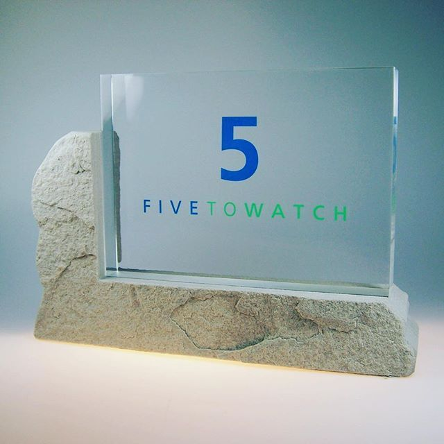 Did you know? We're the crew behind @gbcollege's 5 to Watch Awards! The #recognitionawards, which are presented annually to five Canadian sports business professionals who have achieved remarkable career success prior to their 40th birthdays, are made of lucite, with a stone bottom.  .  .  .  .  .  #clearmount #lucite #acrylic #madeincanada #torontomade #investinquality #brandinglastingimpressions #5towatch