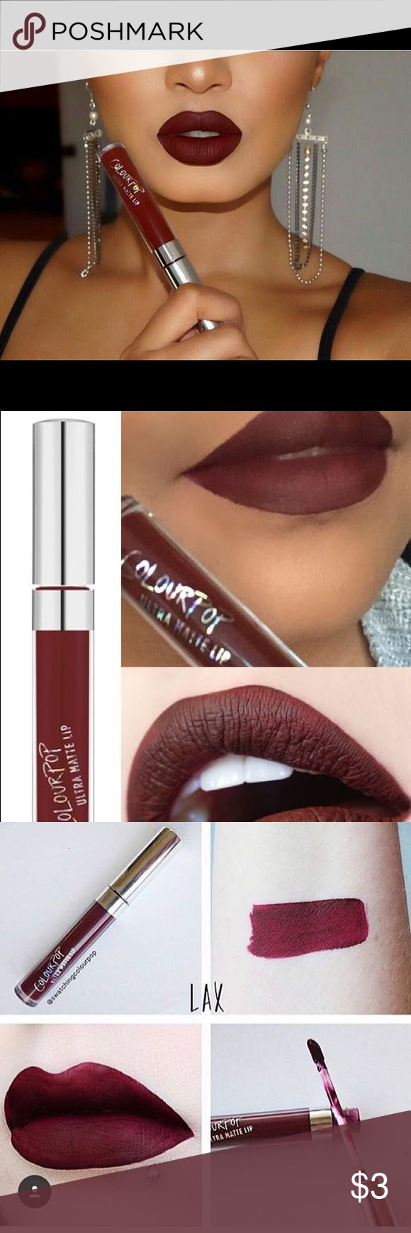 Colour Pop LAX matte liquid lipstick Never been worn! So the doe foot applicator is new and clean. I searched this with a sample applicator. LAX is to the right and the other color I am selling is to the left it is called Zipper! Colourpop Makeup Lipstick