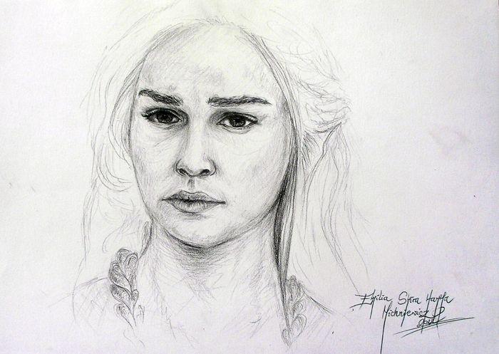 Pencil drawing - Daenerys www.facebook.com/EMsilverART