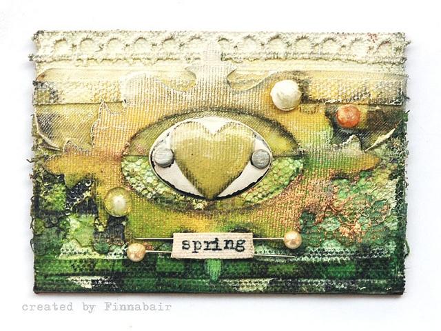 ATC - Spring by finnabair, via Flickr: Media Art, Mixed Media, Tradind Cards, Cards Inspiration, Artists Tradind, Tags Cards, Atc Tags, Altered Art, Inspiration Mixed