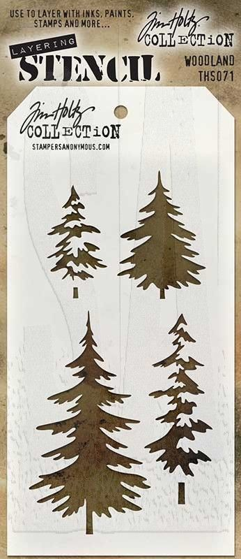 """Tim Holtz Layering Stencil: WoodlandThere is no doubt the versatility of stencils make them the latest must have tools. Tim Holtz has designed these stencils so that they are a little more imperfect as a way to add texture and imagery.Use these stencils to layer inks, paints, stains - so many creative ways to use them to enhance your projects.Tag-shaped stencil measures 4 1/8"""" x 8 1/2"""", with a convenient hole in top to attach with a Cable Binder Ring (sold separately)."""