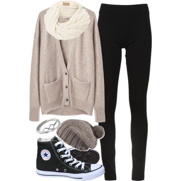 A fashion look from January 2013 featuring La Garçonne Moderne cardigans, DKNY leggings and Converse sneakers. Browse and shop related looks.