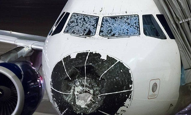 Delta pilots make BLIND landing after hail smashes plane's windshield #DailyMail
