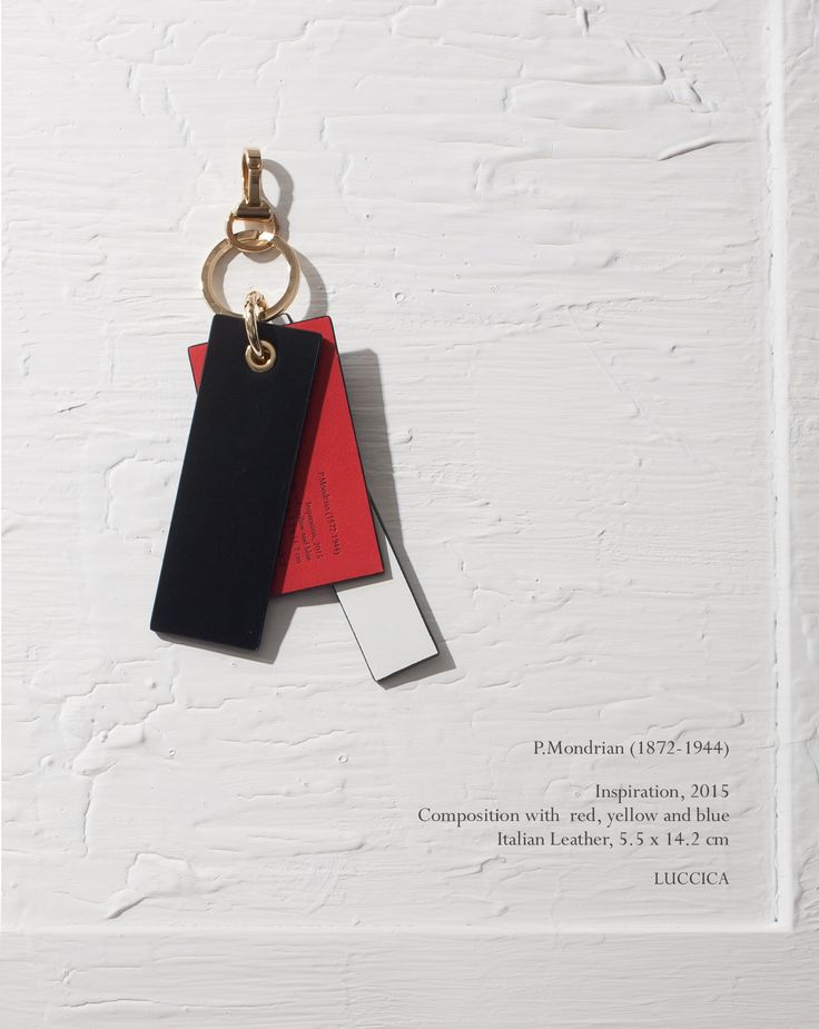 P.Mondrian charm for bags (keyring) - Black P.Mondrian (1872-1944) Inspiration, 2015 Composition with red, yellow and blue Italian Leather, 9.8 x 7.8cm #LUCCICA #L32 #keyring #charm #yellow #blue #white #red #black #leather #leathergoods #15fw #Mondrian