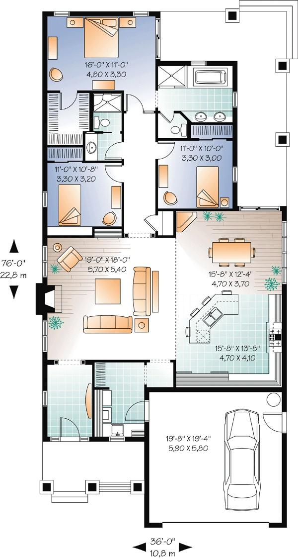 First Floor Plan of Craftsman House Plan 76293