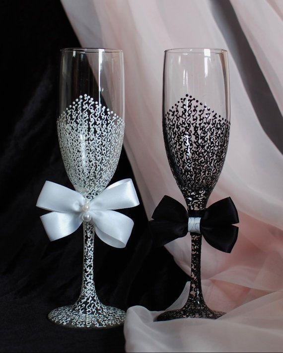 589 best altered glasses bottles 4 images on pinterest bride and groom wedding glasses white and black champagne flutes bridal shower gift wedding toasting glassess wedding gift junglespirit Images