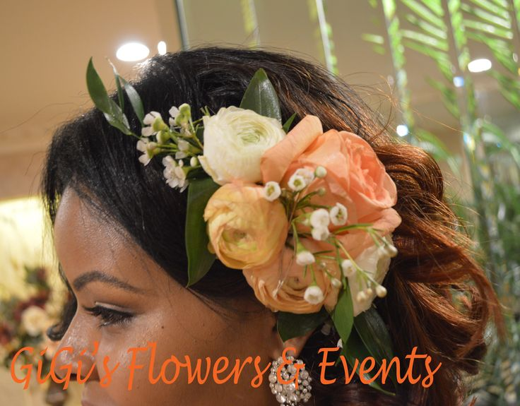 GiGi's Flowers & Events Bridal hair floral crown #Ranunculus #Peach #Dendrobium #Orchids #white #flowers #weddings #bride #bouquet #posy #Snapdragons #Stock #Lakspur #Veronica #QueenAnn'slace #boutonniere #bridesmaids #newyork #verdi's #NYweddings #floralcrown #bridalhairpiece #bridalhair #flowers