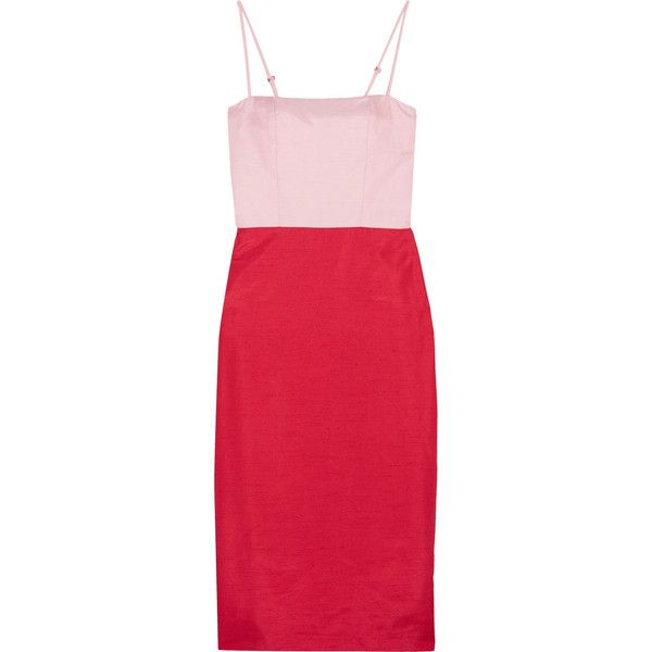 Staud Enzo two-tone shantung dress ($395) ❤ liked on Polyvore featuring dresses, red, going out dresses, shantung dress, party dresses, red holiday party dress and cocktail party dress