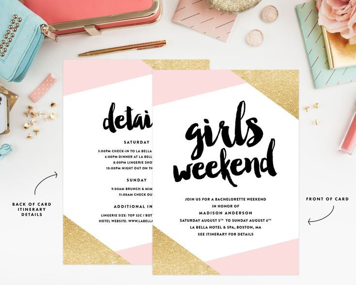 Our Favorite Etsy Bachelorette Invitations | We love this glitter and pink bachelorette weekend invitation, which includes a weekend itinerary. Click to shop it!