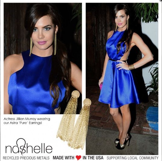 Jillian Murray wearing Nashelle handmade earring and looking fabulous.