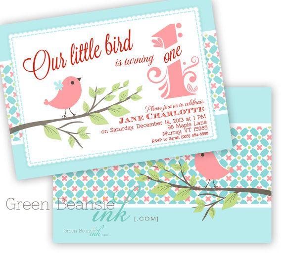 LITTLE BIRD Printable Birthday Party Invitation by GreenBeansieInk, $13.95