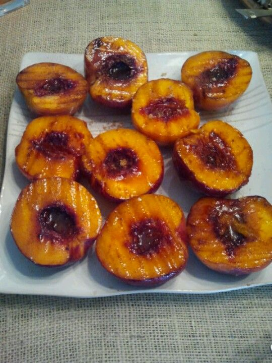 Grilled peaches!!! Melted butter, sugar, brown sugar, cinnamon... George Foreman grill. Yum!!!