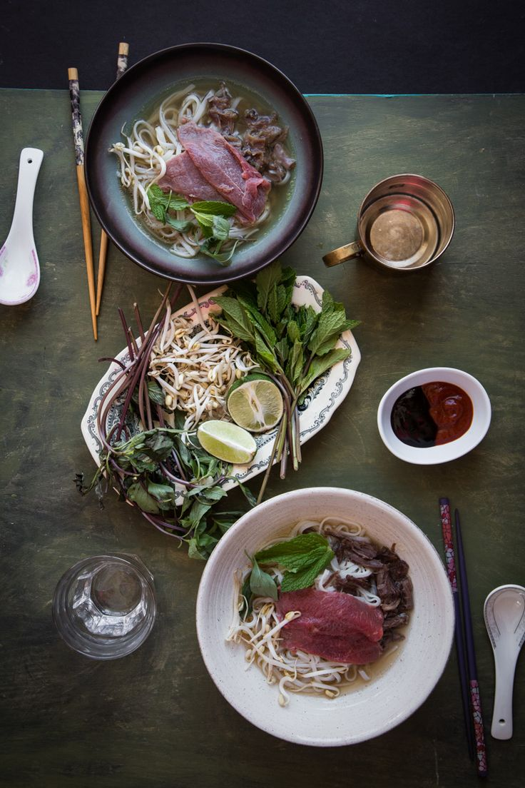 Pho Bo is Vietnamese thin rice noodle soup served in broth that is cooked for hours from bones and aromatic spices and served with slices of beef and fresh herbs at the side. It's hard not to love a good bowl of Pho Bo