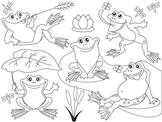 Item Black And White Frog Clipart Digital Vector Frog Black And White Lily Frogs Pond Frog Clip Art For Personal A Cool Coloring Pages Art Clip Art